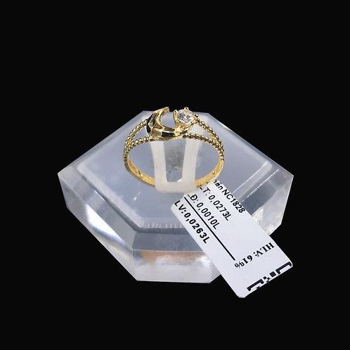 Nhẫn nữ bán nguyệt vàng đá trắng VJC 610