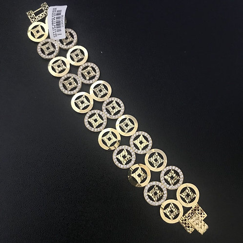Lắc tay nữ đồng tiền vàng đá trắng VJC 610