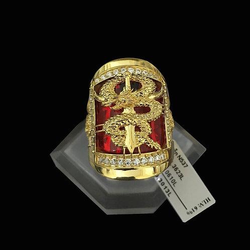 Nhẫn nam Rồng vàng đá đỏ