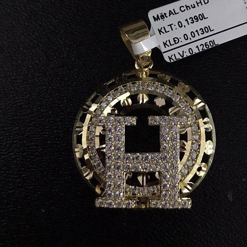 Mặt dây chữ H vàng đá trắng