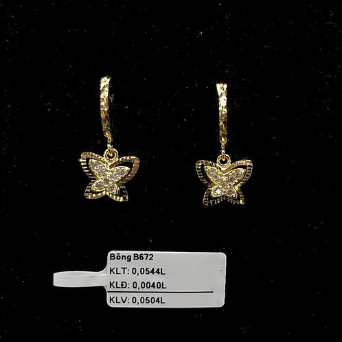 Bông tai bướm vàng đá trắng VJC 610