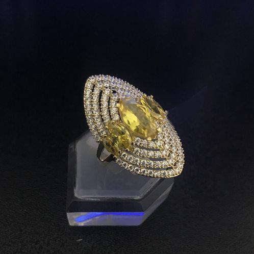 Nhẫn vàng hoa nữ đá màu vàng VJC 610