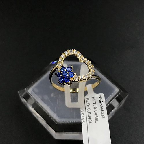 Nhẫn nữ tim vàng đá Xanh biển