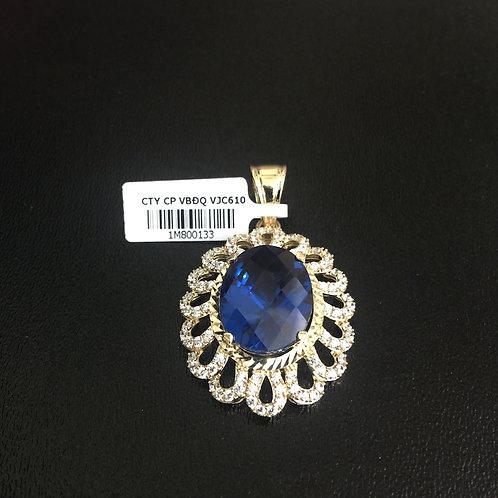 Mặt dây chuyền vàng nữ đá xanh nước biển oval VJC 610