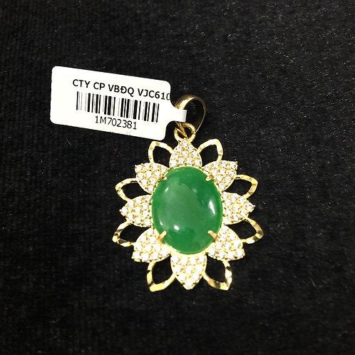 Mặt dây chuyền vàng hoa đá cẩm thạch oval VJC 610