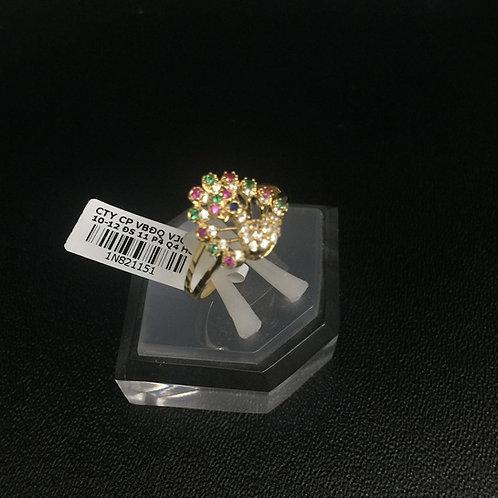 Nhẫn nữ vàng chim công đá nhiều màu VJC 610