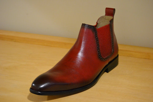 Carrucci Red Chelsea Boots with Burnished Toe