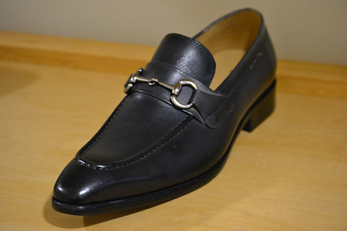 Carrucci Navy Loafer with Horsebit Hardware