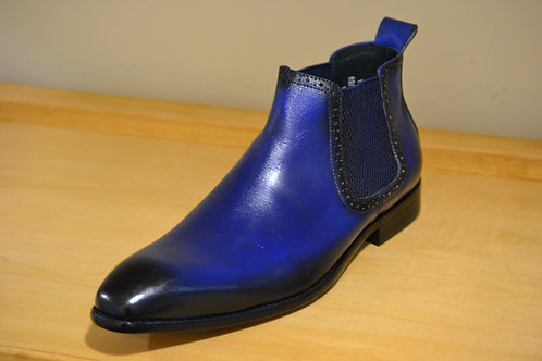 Carrucci Blue Chelsea Boots with Burnished Toe