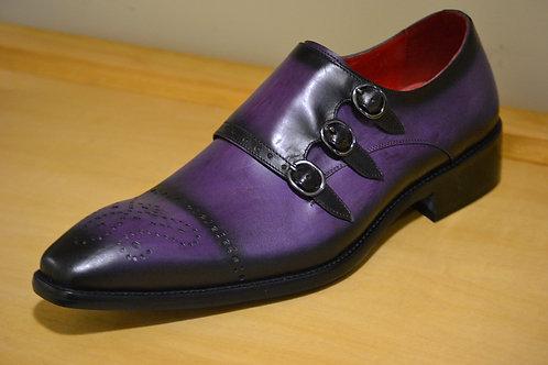 Purple Triple Monkstraps by Fiesso