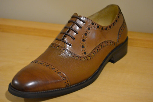 Carrucci Cognac CapToe Deer Skin Oxford