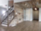 bardboard wall feature,barnboard ceiling feature, cross design stair railing