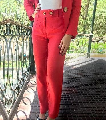 Calça Comprida Linho Tradicional – Vermelha