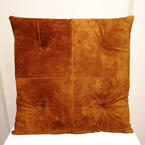Chester Leather Cushion Camel Suede Cowhide