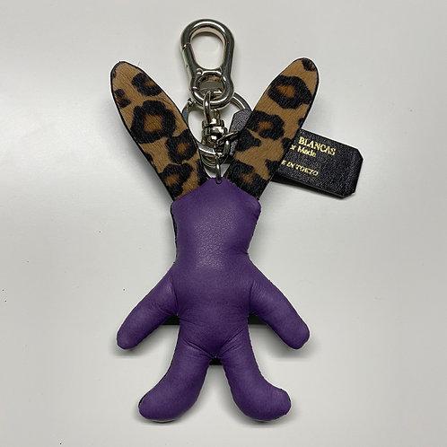 CONEJON Key Holder Purple Cowhide×Leopard Haircalf