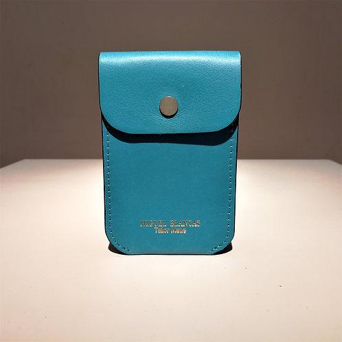 FLAP Card Case Turquoise Blue Cowhide