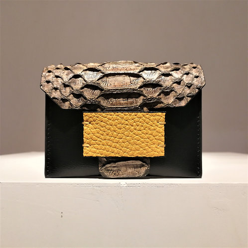 Leary Card Case Holder Greige Python×Black Goat×Yellow Cowhide