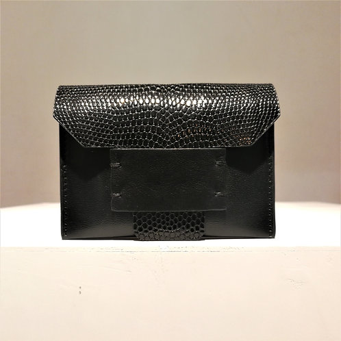 Leary Card Case Holder Black Lizard×Black Goat×Honey Gold Cowhide