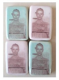 David Bowie pins magnets flair mugshot