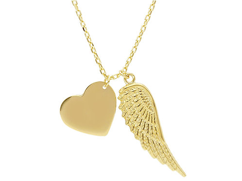 9 Karaat free-heart necklace