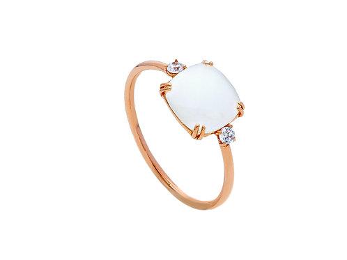 18kt rose-gouden ring agaat