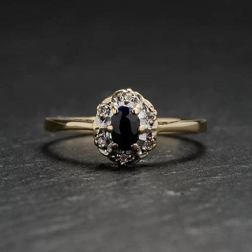 9 karaat diana kluster saffier&diamant.