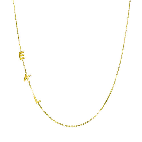 14kt gold letter chain necklace  5 letters