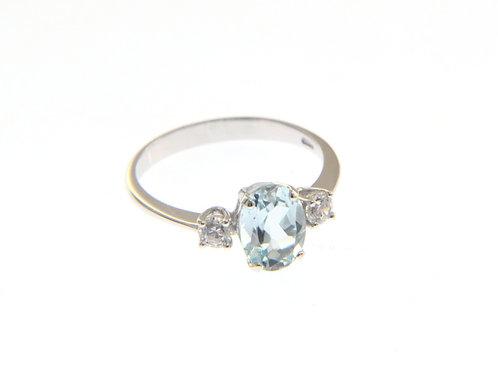 18kt goud cluster blue topaz ring