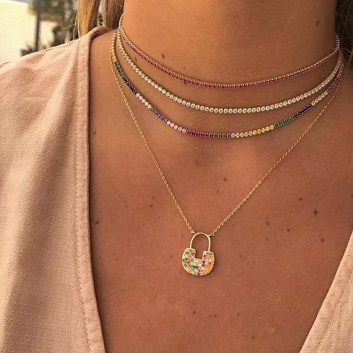 Tennis rainbow necklace