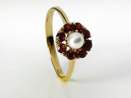 14KT vintage ring Granaat+Parel