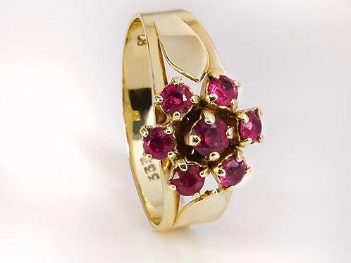8KT vintage ring Granaat flower