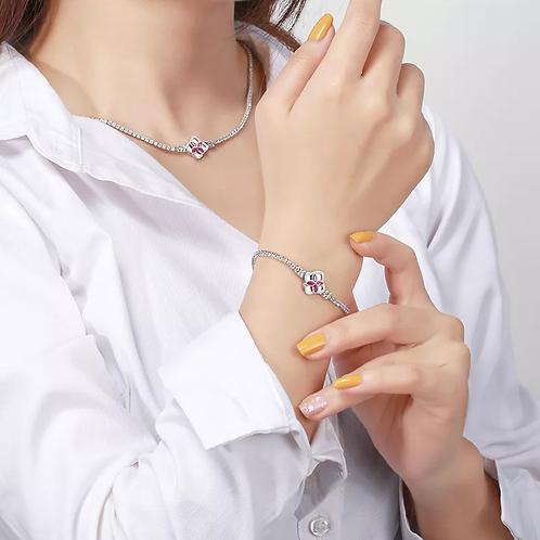Tennis flower necklace