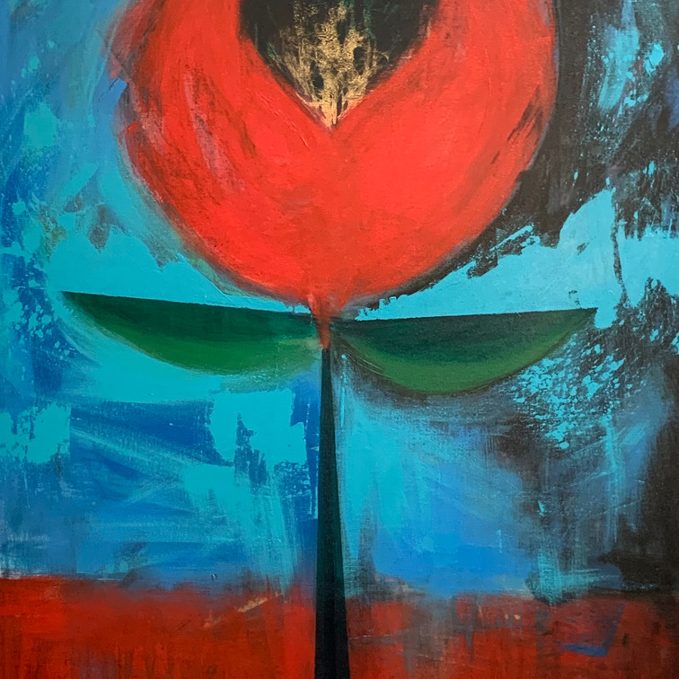 """Acrylic on Canvas 40"""" x 30"""" Just wanted to do a big colorful flower.  It morphed into an Ankh symbol. Thoughts of balance, symetry, protection and eternal life."""