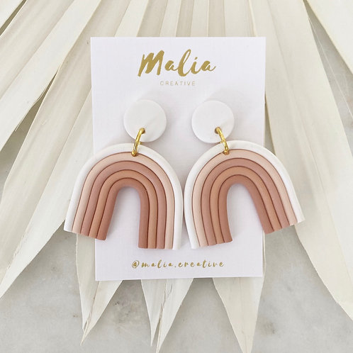 Rainbow (White) Clay Earrings by Malia Creative