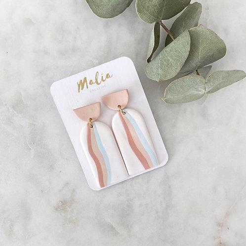 Tri Colour Clay Earrings by Malia Creative