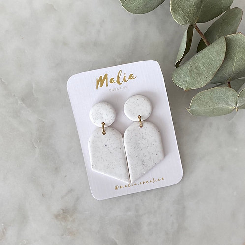 White Speckled Clay Earrings by Malia Creative
