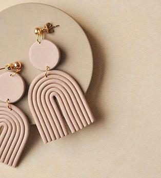 Florence & Fig Linen Rainbow Clay Earrings