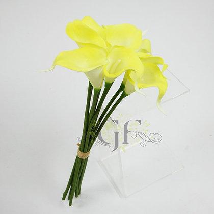 35cm PU Calla Lily Bundle x 9 GF60393 - Yellow