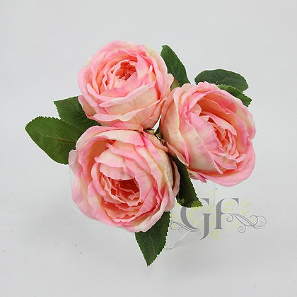 25cm Cabbage Rose x 3 Flowers GF60361 - Pink