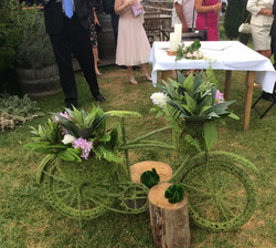 Moss Bike with ferns and flowers