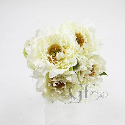 52cm Peony x 5 Flowers in Bundle GF60424 - Cream