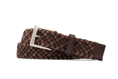 Leather Cloth Braid Belt with Brushed Nickel Buckle