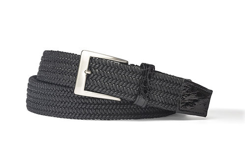 Solid Stretch Belt with Crocodile Tabs