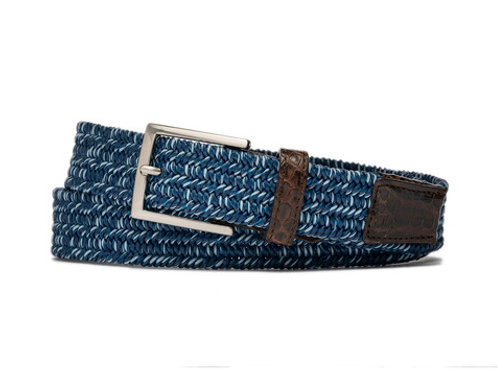 Glacier Stretch Belt with Crocodile Tabs and Brushed Nickel Buckle