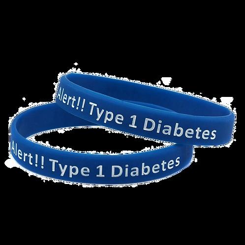 สายรัดข้อมือซิลิโคน MEDICAL ALERT SILICONE WRISTBAND DIABETES TYPE 1