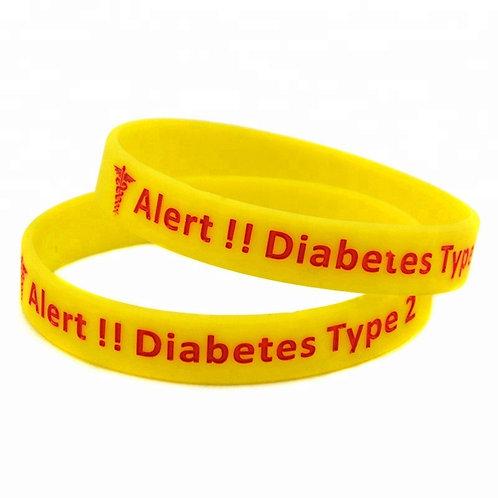 MEDICAL ALERT SILICONE WRISTBAND DIABETES TYPE 2