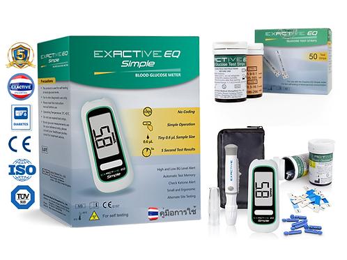 1 กล่อง Exactive EQ เครื่องตรวจวัดน้ำตาลในเลือด Glucosemeter + 1 Box Test Strips