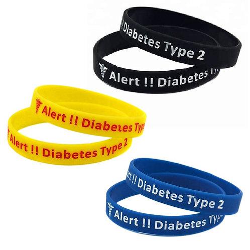 สายรัดข้อมือซิลิโคน  3 PC MEDICAL ALERT WRISTBAND DIABETES TYPE 2