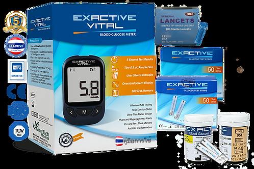 Exactive Vital เครื่องตรวจวัดน้ำตาลในเลือด + 2 box Test Strips + Lancets