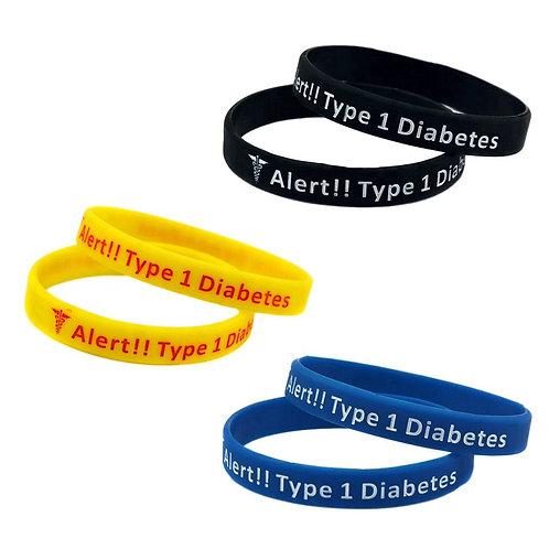 สายรัดข้อมือซิลิโคน 3 Pc. SILICONE WRISTBAND DIABETES TYPE 1